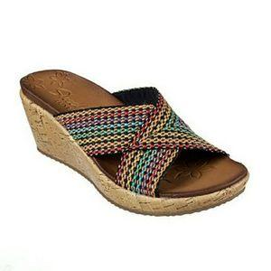 Skechers Beverlee Criss Cross Wedge Sandals